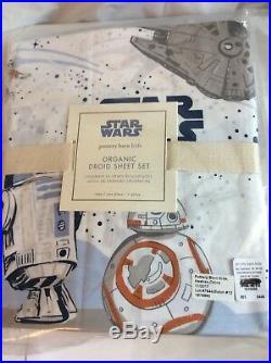 Pottery Barn ORGANIC TWIN Star Wars DROID Sheet set Millenium Falcon bb 8 r2r2