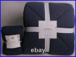 Pottery Barn PB Teen Favorite Tee twin quilt & standard sham, navy blue