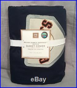 Pottery Barn PB Teen Navy S. F. Giants MLB Patch Twin Duvet Cover+1 Standard Case