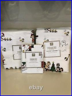 Pottery Barn Peanuts Christmas twin flannel duvet Sheet Set Sham Snoopy New