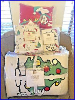 Pottery Barn Peanuts TWIN QUILT, SHAM, SHEET SET, PILLOW Snoopy Christmas6 PcNWT