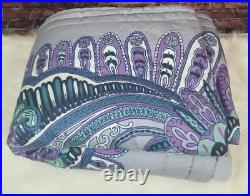 Pottery Barn Quilt Twin Purple Green Gray Floral