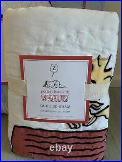 Pottery Barn SNOOPY Twin Quilt + Standard Sham Set Woodstock NWT Snoopy Bedd