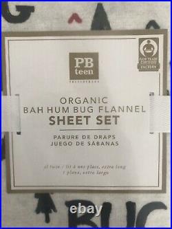 Pottery Barn Teen Bah Humbug Organic Flannel Sheet Set, Twin/Twin XL NWT