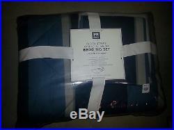 Pottery Barn Teen Boy/men Block Stripe Twin XL Blue Comforter Set Sheets/sham