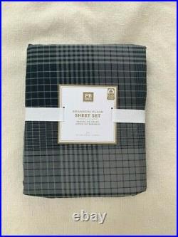 Pottery Barn Teen Branson Plaid sheet set Twin XL Gray