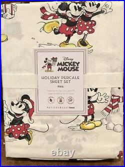 Pottery Barn Teen Disney Mickey Mouse Holiday Organic Percale XL Twin Sheet Set