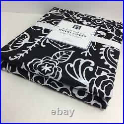 Pottery Barn Teen Dorm Duvet Cover Twin Bloom Doodle Black White Cotton Floral