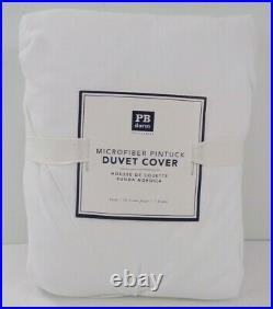 Pottery Barn Teen Dorm Microfiber Pintuck White Twin Duvet Cover #3256