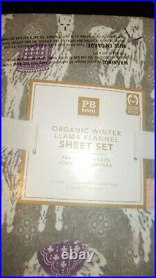 Pottery Barn Teen Festive Organic Winter Llama Flannel XL Twin Sheet Set Gray SO