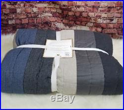 Pottery Barn Teen Good Sport Quilt Twin Denim Blue Gray Beige Reversible