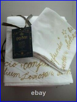 Pottery Barn Teen Harry Potter Magic Spells Gold Script Sheet Set XL Twin #1715