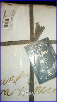 Pottery Barn Teen Harry Potter Magic Spells XL Twin Sheet Set Gold Script NIP