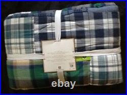 Pottery Barn Teen Havana Madras Patchwork Quilt Twin Blue New