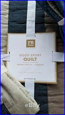 Pottery Barn Teen Huntley Patch Quilt Twin Blue Multi With 2 Std Shams 3PC #3110