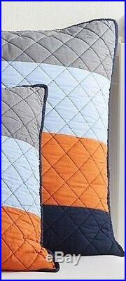 Pottery Barn Teen Kids Block Stripe Quilt Twin With Euro Quilted Sham Orange #638