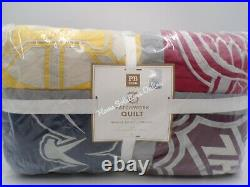 Pottery Barn Teen NHL Patchwork Twin Quilt Hockey Teams Red Wings Penguins 9750B