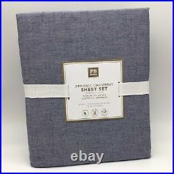 Pottery Barn Teen Organic Chambray Sheet Set XL Twin Navy