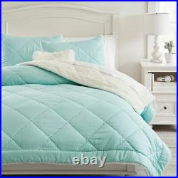 Pottery Barn Teen Recycled Super Soft Sherpa Comforter Twin Quilt, Sham, Seafoam