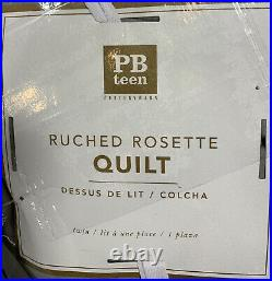 Pottery Barn Teen Ruched Rosette Quilt, Twin/XL, Light Gray, Free Shipping