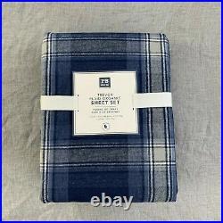 Pottery Barn Teen Trevor Plaid Organic Flannel twin XL sheet set Faded Navy