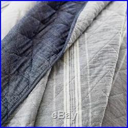 Pottery Barn Teen Windward Stripe Quilt Twin With 1 Standard Sham Navy Gray #406
