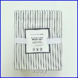 Pottery Barn Teen classic stripe sheet set XL Twin Ivory Faded Navy