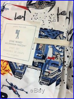 Pottery Barn star wars TWIN Sheet SET MILLENNIUM FALCON boy bb 8 r2r2 jedi room