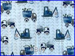 Pottery barn kids Henry Construction Organic twin sheet set Grey Brown Navy