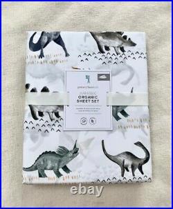 Pottery barn kids Organic Jurassic Dino Sheet Set Twin Brown Grey White