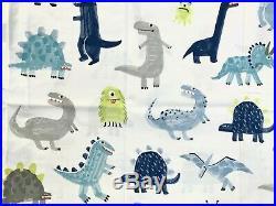 Pottery barn kids Organic Maverick Dino Sheet Set Twin Blue Grey White