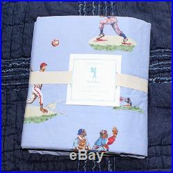 Pottery barn kids Sports baseball sheet set Twin blue navy red green boys