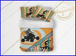Quad Bedding, ATV Room Decor, Dirt Bike Comforter for Boys, Motocross Gifts