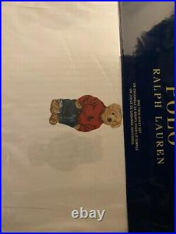 RALPH LAUREN POLO TEDDY BEAR WHITE 3 PC TWIN SHEET SET boy