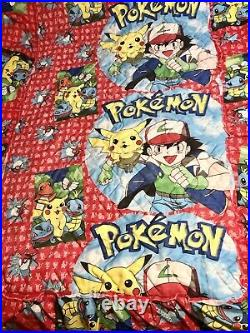 RARE Vintage Pokemon Twin Quilted Bed Skirt Polyester Pikachu Ash Charmander