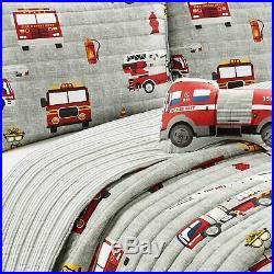 RED FIRE TRUCK 3pc Twin QUILT SET BOYS ENGINE FIREMAN FIREFIGHTER BEDDING