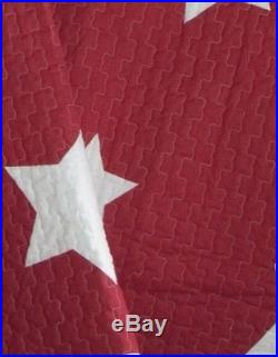 RED & WHITE STAR Twin Single QUILT SET COTTON STRIPE COUNTRY CABIN BOYS BED