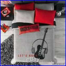 ROCK GUITAR Comforter Bedding Reversible TWIN Sheet Set BLACK Gift Music Boy 6PC