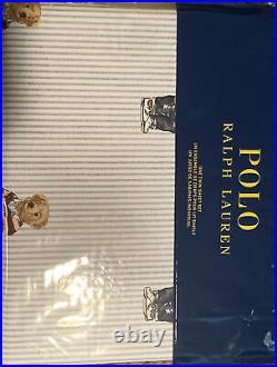 Ralph Lauren POLO White Cotton Boy teddy Bear Twin Stripe Sheet Bed Set