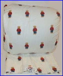 Ralph Lauren Polo Teddy Bear Boy 3P King Comforter & Shams Set New