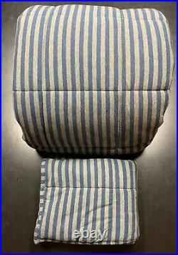 Restoration Hardware Baby Child Reversible Stripe Twin Comforter & Sham Blue Boy