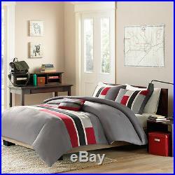 Reversible Modern Red Grey Black White Sport Boys Stripe Soft Comforter Set New