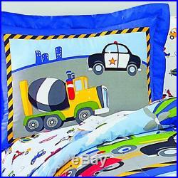 Reversible Twin Size Boy Bedding Set 5pc Kid Toddler Comforter Sheet Truck Car