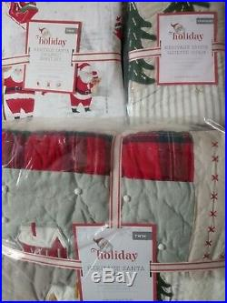 S5 POTTERY BARN KIDS Heritage Santa Quilt Standard Sham Twin sheet Christmas