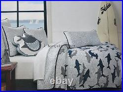 SHARK 7pc TWIN QUILT SHARKS GREAT WHITE SHARK SHEETS SHAM THROW PILLOW