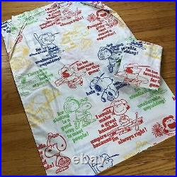 Set 2 Vintage PEANUTS Snoopy Twin Bed Sheets Charlie Brown 1960s Fabric USA