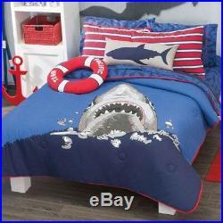 Shark Attack Kids Boys Reversible Comforter Set And Sheet Set 6 Pcs Twin