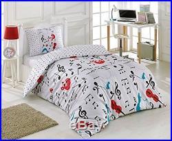 Single Twin Floretta Music Notes Bedding Duvet Cover Set, 100% Cotton, 3 Pieces