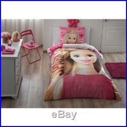 Single Twin Kids Girls Original BARBIE 100 % Cotton Duvet Quilt Cover Set 3 Pcs