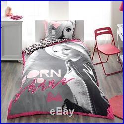 Single Twin Licensed Barbie Shine Bedding Duvet Cover Set, 100% Cotton 3Pcs